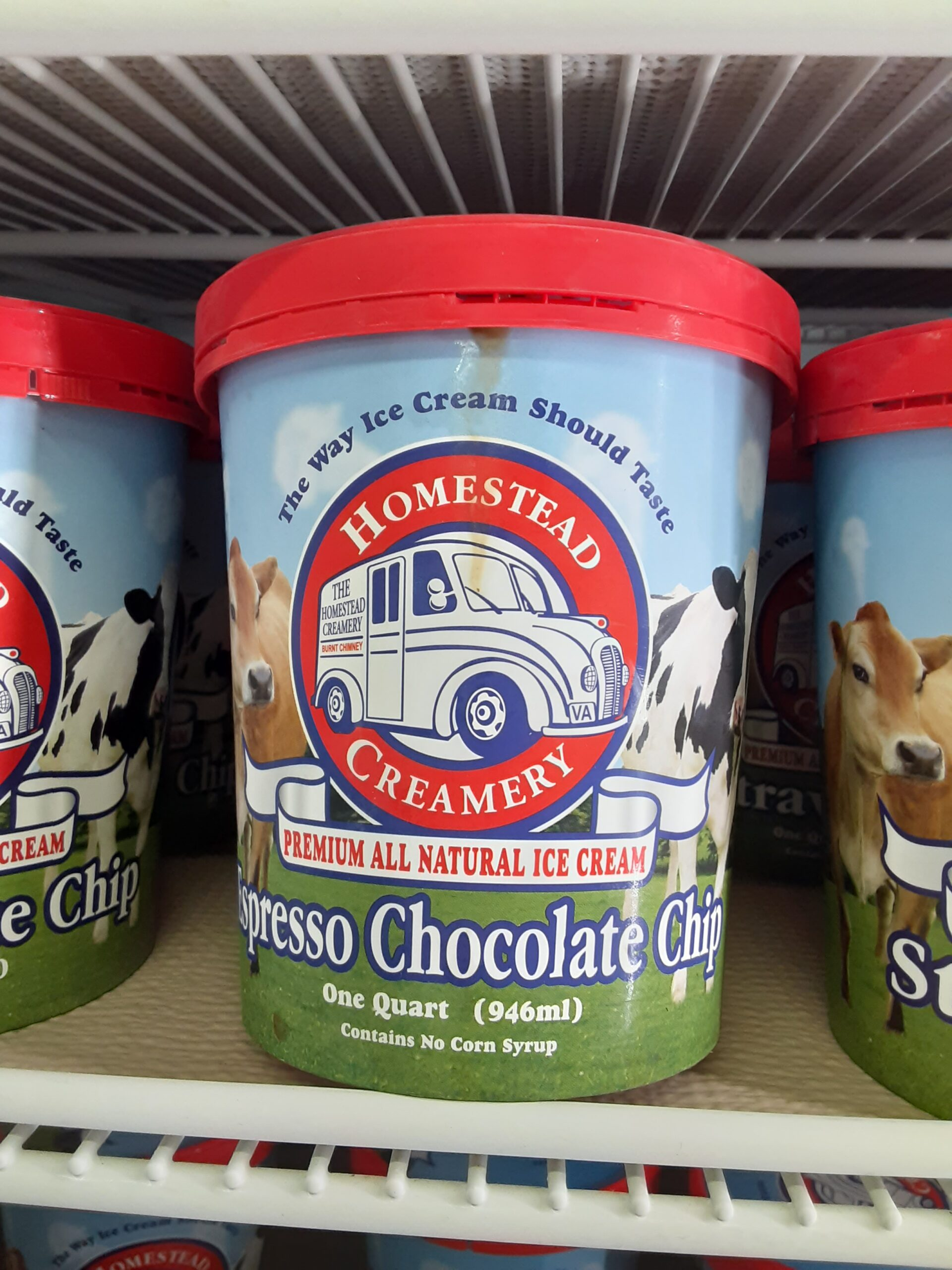 Homestead Ice Cream is here along with South Mountain Ice  Cream. Try the Espresso Chocolate Chip, the Butter Pecan,  and the Black Raspberry.